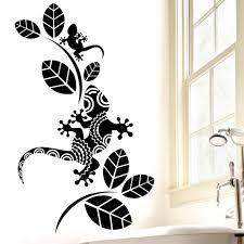 Rubybloom Designs Rubybloom Designs Patterned Geckos With Leaves Lizard Bathroom Mural Art Wall Sticker