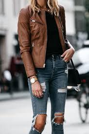 tan leather jacket black tshirt denim ripped skinny jeans outfit fashion jackson dallas blogger fashion blogger
