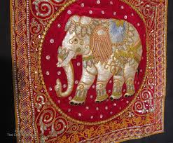 large intricate hill tribe made thailand elephant wall hanging approximately 37 high 37 wide