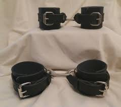 deluxe black real leather ankle and wrist restraints set