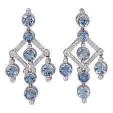 aquamarine diamond chandelier earrings for