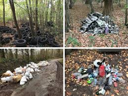 pneus morceaux de toiture sacs de gravats déchets et bouteilles en plastique ou