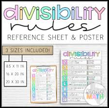 Divisibility Rules Chart Divisibility Rules Reference Sheet Poster