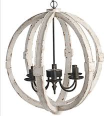 distressed white cottage wood orb chandelier pendant shabby chic french country custom