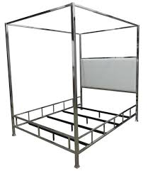 Claire Modern Chrome Metal Canopy Bed