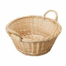 round wicker basket with handles