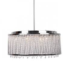 more views 10 light crystal chandelier with drum shade chrome