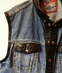 gasoline denim leather vest with a theme
