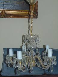 chandelier with glass crystals 1950s 1