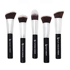 kabuki face makeup brush set best 5 pc large face brushes for foundation blush
