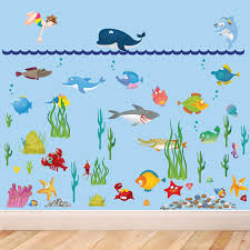 large under sea water world full colour wall stickers in a playroom