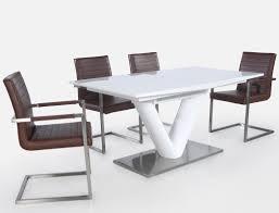 Säulentisch Ausziehbar Hochglanz Weiß Esstisch 160220x90 Cm