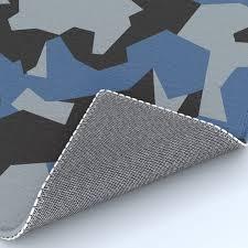 camouflage splinter pattern blue rug