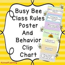 Bee Behaviour Chart Bee Theme Classroom Rules Poster And Clip Chart Classroom