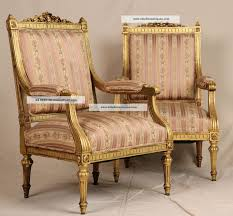 fine pair french louis xvi carved gilt antique upholstered fauteuil arm chairs 1800 1899 photo