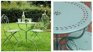 metal bistro set. Pale Green Metal Garden Table And Chairs Bistro Set B