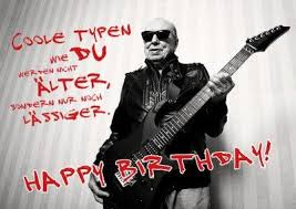 Cooler Alter Mann Mit Gitarre In Lederjacke Happy Birthday Spruch