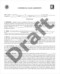 Standard Commercial Lease Agreement Sample Commercial Lease Agreement Form 9 Free Documents In Word Pdf