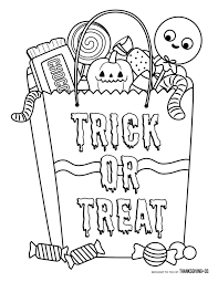 halloween candy coloring page. Halloween Candy Bag Coloring Page In