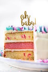 how to make a gorgeous and festive gender reveal cake for a gender reveal party or