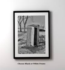 vintage black frame. Modern Farmhouse Wall Art / Funny Bathroom Framed Powder Room Prints  Vintage Black And White Outhouse Photo Vintage Black Frame