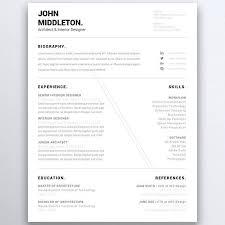Architect Resume Template Gorgeous Modern Minimalist Resume Template One Page Resume Five Page Resume