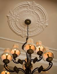 large ceiling medallion and chandelier