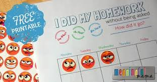 Free Homework Chart Free Homework Reward Chart