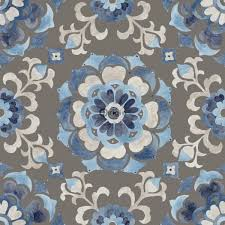 surface printed texture non woven wallpaper flowers taupe and blue gray bell blue and gray wallpaper