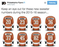 flyers numbers flyers unveil jersey numbers for new players sons of penn