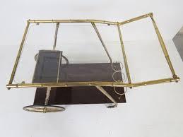 bamboo bar cart. Italian Modern Brass Faux Bamboo Bar Cart