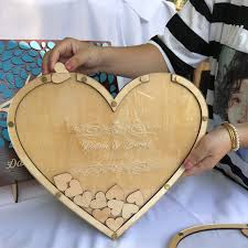 personalized heart rustic wedding engraved alternative wooden memory guestbooks with heart drop box signature hearts guest