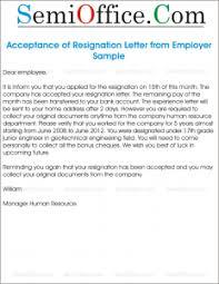 Resignation Acceptance Letter Sample