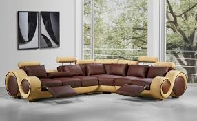Modern Leather Sectional Sofa with Recliners