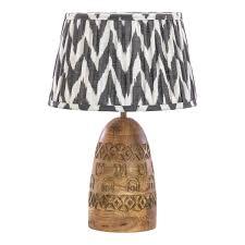 Bangoli Carved Wooden Table Lamp Myakkacouk Myakka
