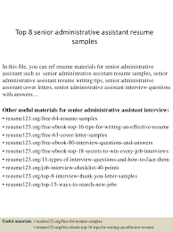 Administrative Assistant Objective Resume Samples Top 8 Senior Administrative Assistant Resume Samples