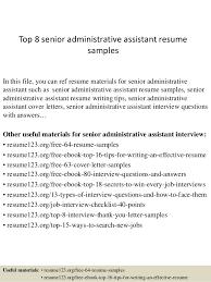 sample executive assistant resume top 8 senior administrative assistant resume samples in this file you can sample executive administrative assistant resume