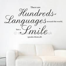 on quote wall art uk with a smile speaks them all wall sticker