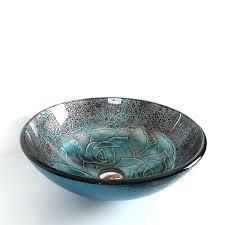 bowl shaped bathroom sink ocean blue round bowl shape glass bathroom vessel sink with fl pattern
