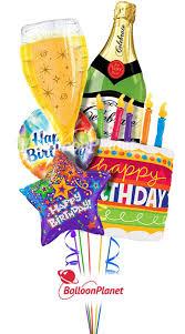Happy Birthday Champagne Cake Balloon Bouquet 5 Balloons
