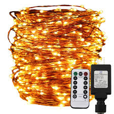 Golden Power Lights 30m 50m 100m Led String Lights Copper Wire Christmas Starry Fairy Decorative Holiday Lights Ul Adapter Remote Control 8mode Light Strings String