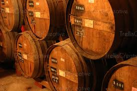 stacked oak barrels. Stacked Oak Wine Barrels In An Old Winery Cellar