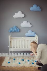 Kids Stuffed Cloud shaped pillow - Gift Ideas Baby Toddler Mobile - white  blue nursery room