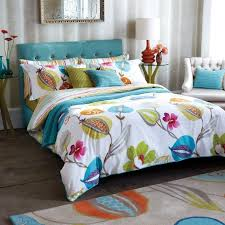 projects idea of funky bed sets bedroom interior decorations with white comforter fl print and teal blue color bedding uk