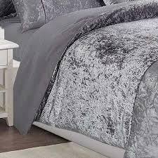 luxury 3 piece grey velvet bedding set