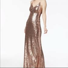 Nw Nightway Womens Rose Gold Sequined Prom Evening Dress