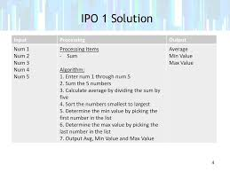Ipo Lap Problem 1 Create A Flow Chart And Ipo For The
