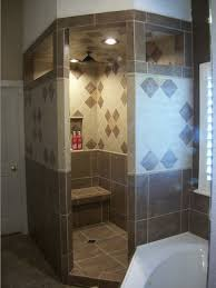Walk-in Shower with Diamond Pattern traditional corner bathroom designs