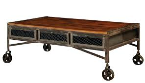 wheeled coffee table coffee table with casters coffee table with drawers wheels industrial coffee table on