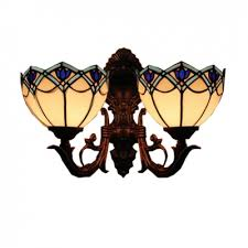 tulip tiffany stained glass shade 2 light sconce in antique bronze finish